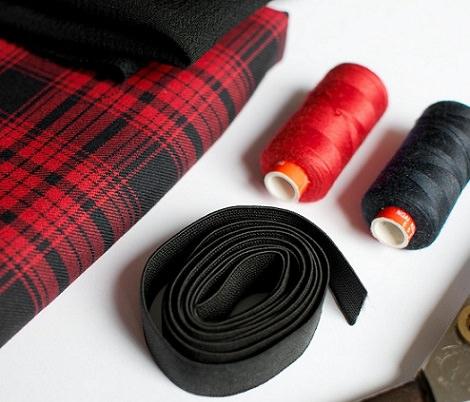 materiales falda de cuadros